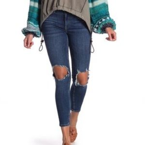 Free People Ripped High Waist Ankle Skinny Jeans